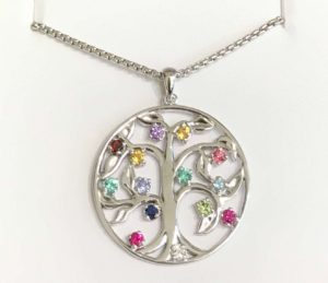 Custom birthstone family tree Mothers gift necklace